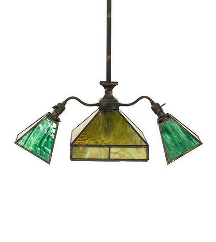 An Arts and Crafts Style Slag Glass Light Fixture, Height 39 1/2 x width 20 inches.