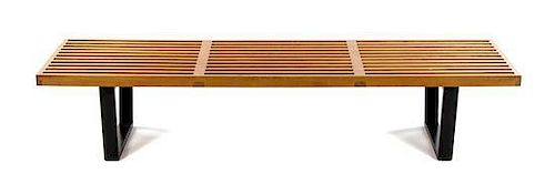 * A George Nelson Platform Bench, for Herman Miller, Height 13 1/8 x width 68 1/8 x depth 18 5/8 inches.