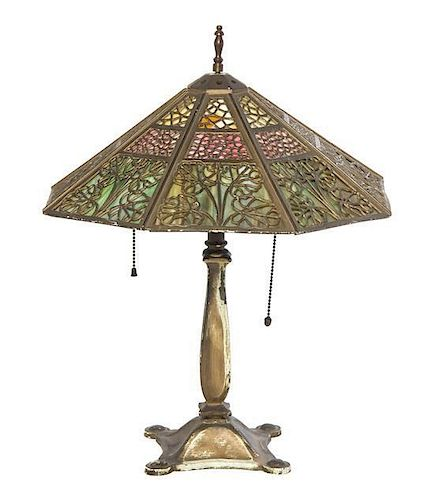 A Bradley and Hubbard Slag Glass Table Lamp, Height overall 19 inches.