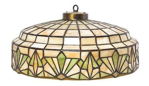 * An American Leaded Glass Hanging Shade, Diameter 16 1/2 inches.