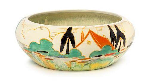 A Clarice Cliff Bizarre Ware Pottery Bowl, Diameter 8 inches.