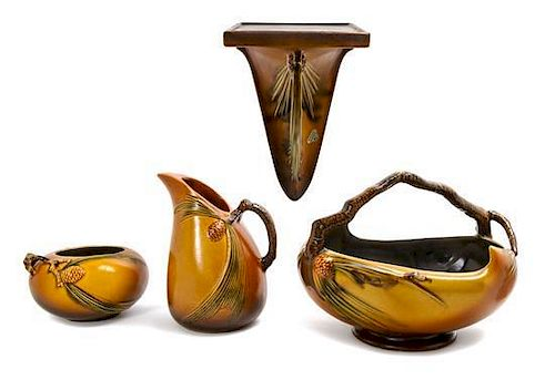* Four Roseville Pottery Articles, Width of first 13 1/8 inches.