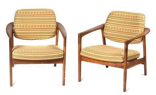 * A Pair of Dux Teak Lounge Chairs, Height 30 inches.