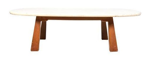 * A Travertine Low Table, Height 17 x width 60 x depth 39 inches.