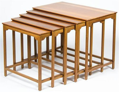 * A Set of Five Teak Nesting Tables, Height of tallest 20 1/2 x width 26 1/4 x depth 15 3/4 inches.