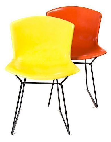 Four Harry Bertoia Fiberglass and Enameled Steel Side Chairs, for Knoll, Height 30 inches.