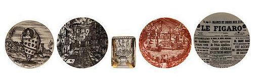 Four Piero Fornasetti Porcelain Plates, Diameter of largest 10 1/4 inches.