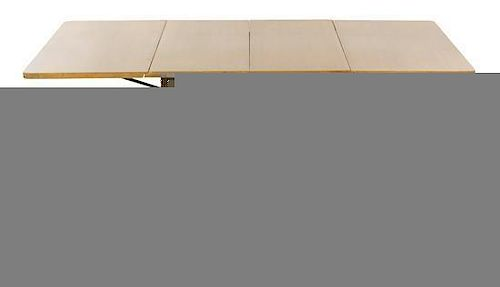* A T.H. Robsjohn-Gibbings Walnut Drop-Leaf Extension Table, for Widdicomb, Height 29 3/8 x width 40 inches x depth 100 inches (