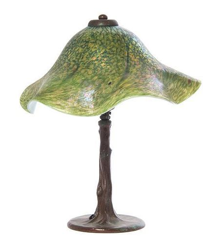 An American Studio Glass Table Lamp, Lundberg Studios, Height overall 13 1/2 x diameter of shade 12 3/8 inches.