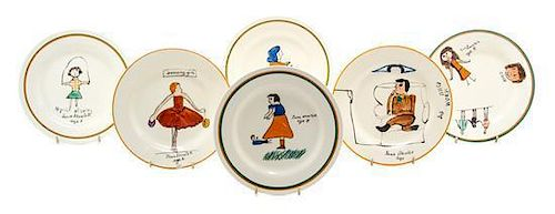Six Joan Shorter Pottery Plates, for A.J. Wilkinson, Diameter 7 inches.
