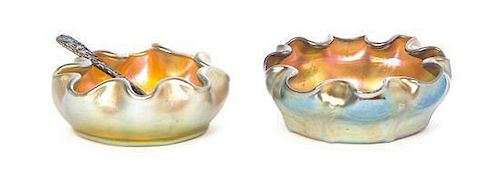 Two Tiffany Studios Gold Favrile Glass Salt Cellars, Diameter 2 3/4 inches.