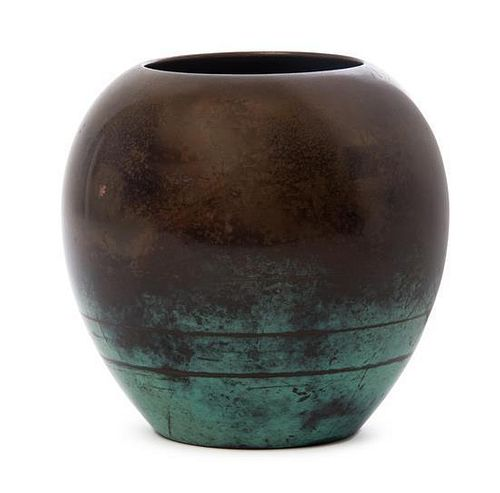 A WMF Mixed Metal Ikora Vase, Height 5 3/4 inches.