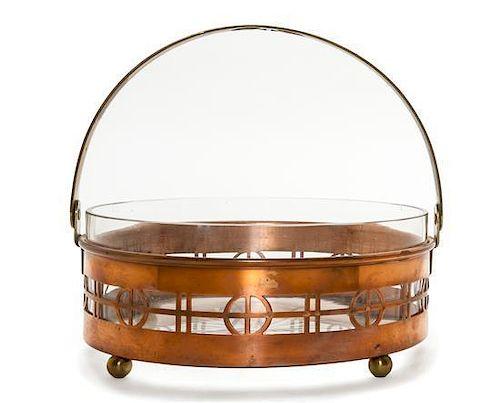 A Seccessionist Style Copper, Brass and Cut Glass Basket, Diameter 7 1/4 inches.