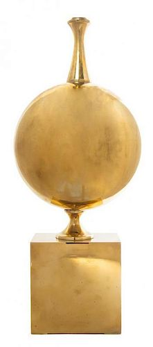 A Brass Modernist Table Lamp, Height 23 3/4 inches.