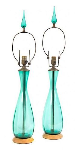 A Pair of Blenko Glass Table Lamps, Height overall 33 inches.
