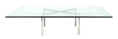 * A Ludwig Mies Van Der Rohe Chromed and Glass Low Table, Height 15 1/2 x width 70 x depth 50 inches.