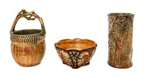 * Three Weller Pottery Articles, Height of first 9 1/4 inches.