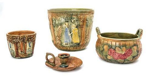 * Four Weller Pottery Articles, Height of first 8 3/4 inches.