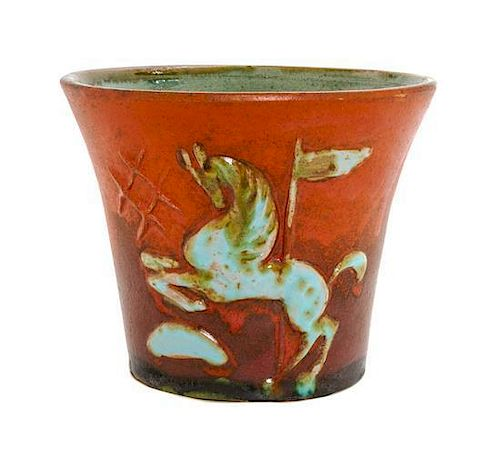 A Pitt Petri Pottery Vase, Height 5 1/4 inches.