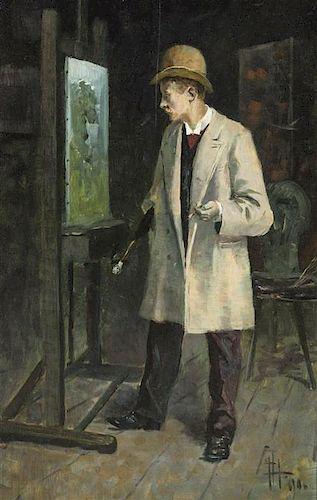 Attributed to Fritz Hegenbarth, (Austrian, 1864-1925), Portrait of a Gentleman, (possibly Gustave Pisko)