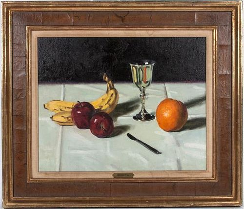 Gregory Hull, (American, b. 1950), Silver Cup and Fruit, 1977