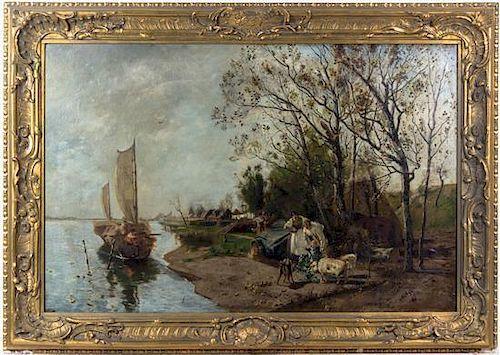 Otto Rennert, (American, 1881-1950), Village Near River