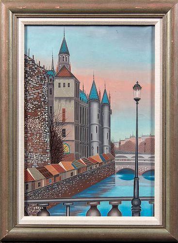 Foussa Itaya, (French/Japanese, b. 1919), City River View, 1957
