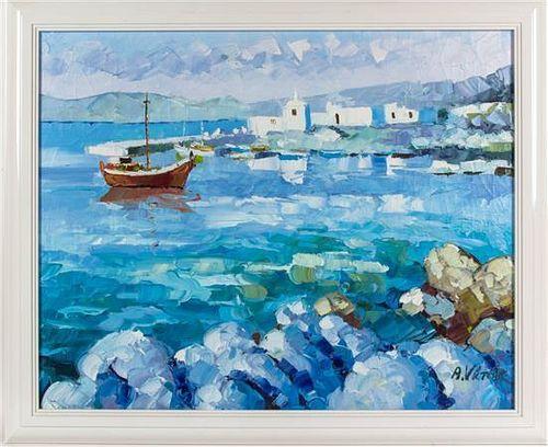 * A. Victor, (20th century), Shore Scene with Boat