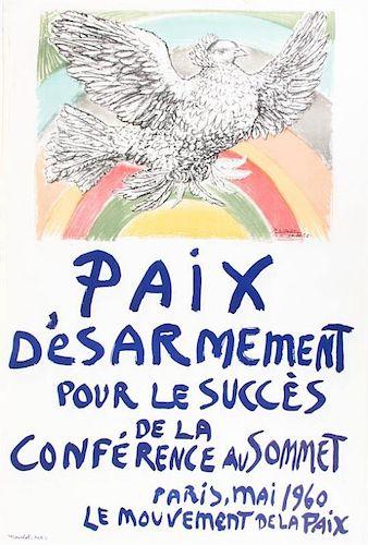After Pablo Picasso, (Spanish, 1881-1973), Paix D'esarmement pour les Success de la Conference au Somnet