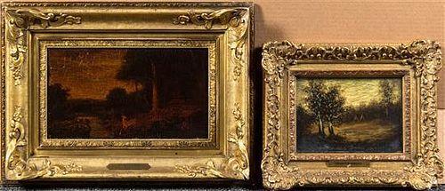 After Ralph Albert Blakelock, (American, 1847-1919), Frightened Deer and Indian Encampment (a pair of works)