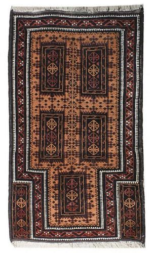 A Belouch Prayer Rug, 5 feet 3 1/2 inches x 3 feet 2 inches.