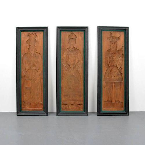 Large Intaglio Wood Figural Panels, Probably Dutch