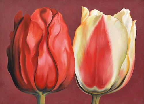 Lowell Nesbitt 'Two Tulips' Painting, Original Work