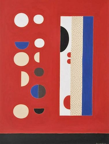 Richard Filipowski Non-Objective Gouache Painting, Original Work