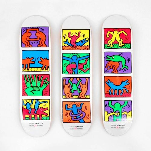 Skateboard Decks by Keith Haring (After), Set of 3
