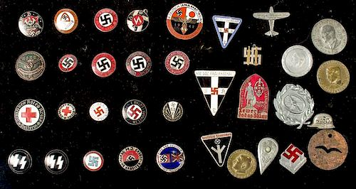 German WWII Party Pins and Tinnies, Lot of Thirty-Five by Cowan's