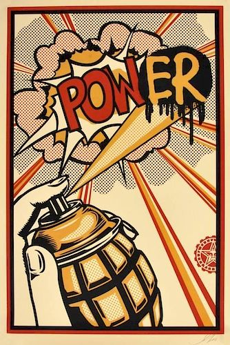 Shepard Fairey 'Power' Lithograph, Signed