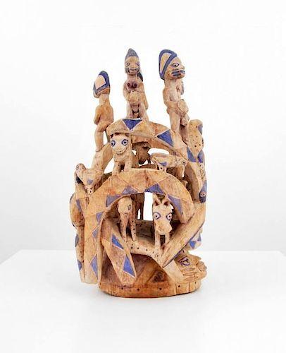 Large Hand-Carved Gelede Society Mask/Sculpture