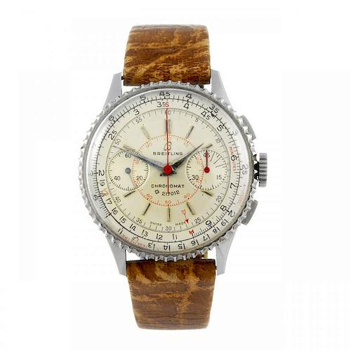 BREITLING - a gentleman's Chronomat chronograph wrist watch. Stainless steel case with slide rule be