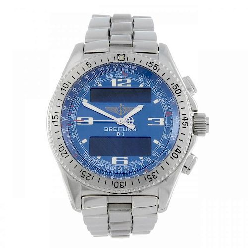 BREITLING - a gentleman's Professional B-1 bracelet watch. Stainless steel case with calibrated beze
