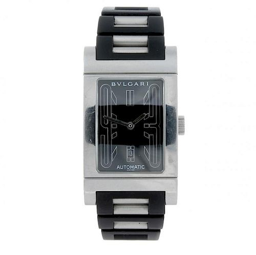BULGARI - a mid-size Rettangolo wrist watch. Stainless steel case. Reference RT 45 S, serial L27850.