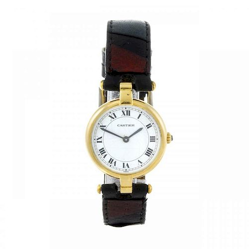 CARTIER - a Vendome wrist watch. Yellow metal case, stamped 18k with poincon. Numbered 810024503. Si