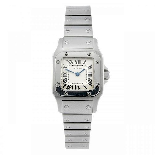 CARTIER - a Santos bracelet watch. Stainless steel case. Reference 1565, serial 928236CD. Signed qua