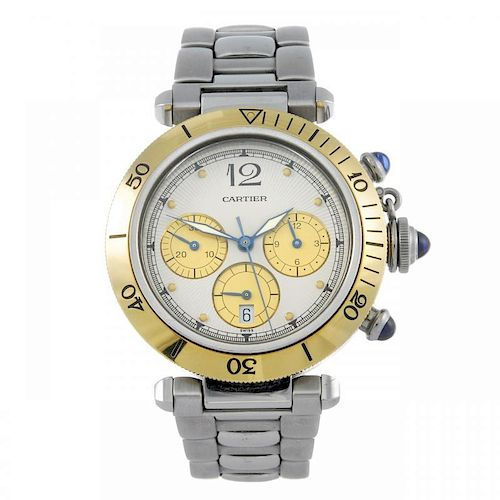 CARTIER - a Pasha chronograph bracelet watch. Stainless steel case with yellow metal calibrated beze