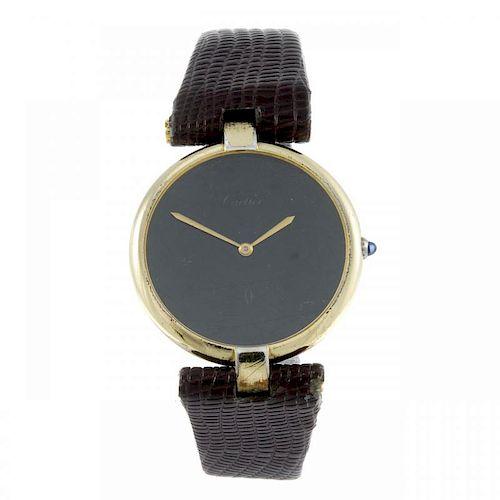 CARTIER - a Must De Cartier wrist watch. Gold plated silver case. Numbered 17 081609. Signed quartz