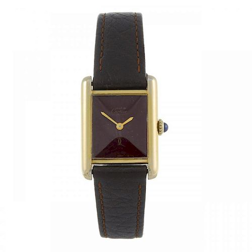 CARTIER - a Must de Cartier Tank wrist watch. Gold plated silver case. Numbered 3127848. Signed manu