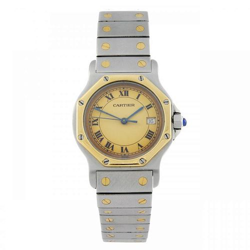 CARTIER - a Santos Ronde bracelet watch. Stainless steel case with yellow metal bezel. Numbered 1879