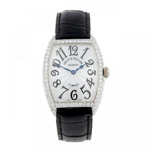 FRANCK MULLER - a lady's Curvex wrist watch. 18ct white gold diamond set case. Reference 7502QZ, ser