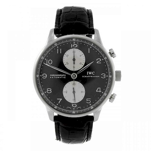IWC - a gentleman's Portuguese chronograph wrist watch. Stainless steel case. Reference 3714, serial