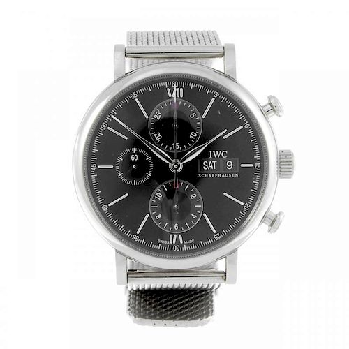 IWC - a gentleman's Portofino chronograph bracelet watch. Stainless steel case. Numbered 5038346. Si